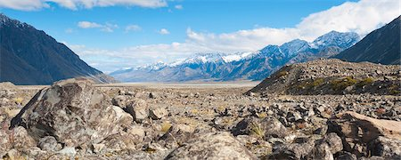 rugged landscape - Rugged mountain scenery and snow capped mountains, Aoraki Mount Cook National Park, UNESCO World Heritage Site, South Island, New Zealand, Pacific Stock Photo - Rights-Managed, Code: 841-07080575