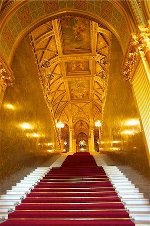 european - Grand Stairwell, Hungarian Parliament Building, Budapest, Hungary, Europe Stock Photo - Rights-Managed, Code: 841-07080975