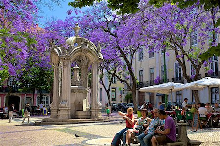 Carmo Square and Fountain, Lisbon, Portugal, Iberian Peninsula, South West Europe Stock Photo - Rights-Managed, Code: 841-07081052