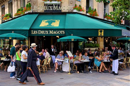 europe coffee shop - Les Deux Magots Restaurant, Paris, France, Europe Stock Photo - Rights-Managed, Code: 841-07081189
