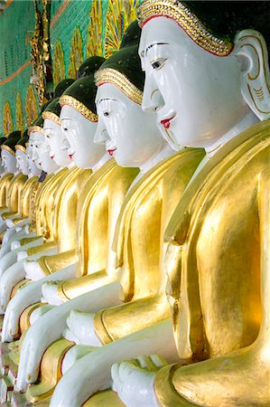 repeating - Some of the 45 Buddha images found at a crescent-shaped colonnade at Umin Thounzeh on Sagaing Hill, near Mandalay, Myanmar (Burma), Asia Stock Photo - Rights-Managed, Code: 841-07081625