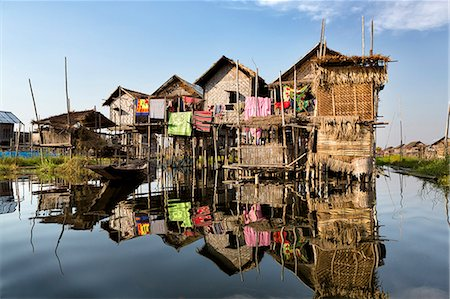 Houses built on stilts in the village of Nampan on the edge of Inle Lake, Myanmar (Burma), Southeast Asia Stock Photo - Rights-Managed, Code: 841-07081657