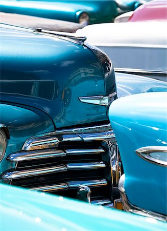 Vintage American cars parked on a street in Havana Centro, Havana, Cuba, West Indies, Central America Stock Photo - Rights-Managed, Code: 841-07081804