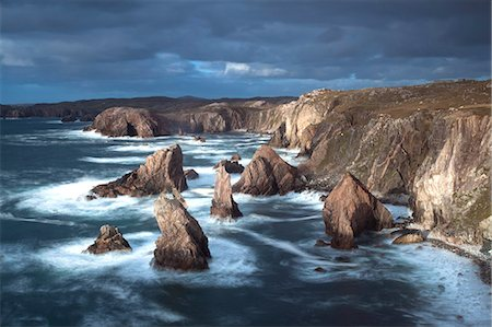 Rugged coastline being pounded by waves on the West coast of Lewis at Mangersta, Isle of Lewis, Outer Hebrides, Scotland, United Kingdom, Europe Stock Photo - Rights-Managed, Code: 841-07081844