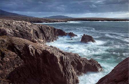 Rugged coastline being pounded by waves on the West coast of Lewis near Mangersta, Isle of Lewis, Outer Hebrides, Scotland, United Kingdom, Europe Stock Photo - Rights-Managed, Code: 841-07081843