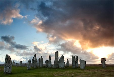 Standing Stones of Callanish at sunset with dramatic sky in the background, near Carloway, Isle of Lewis, Outer Hebrides, Scotland, United Kingdom, Europe Stock Photo - Rights-Managed, Code: 841-07081850