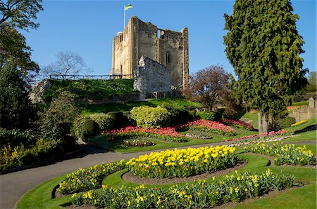 Spring flowers in ornamental beds decorate Guildford Castle, Guildford, Surrey, England, United Kingdom, Europe Stock Photo - Rights-Managed, Code: 841-07081898