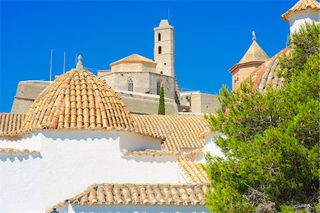 Ibiza Cathedral and Santo Domingo Convent, Old Town (Dalt Vila), UNESCO World Heritage Site, Ibiza, Balearic Islands, Spain, Europe Stock Photo - Rights-Managed, Code: 841-07081981