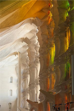 Sunlight through stained glass, Sagrada Familia, Barcelona, Catalunya, Spain, Europe Stock Photo - Rights-Managed, Code: 841-07082405
