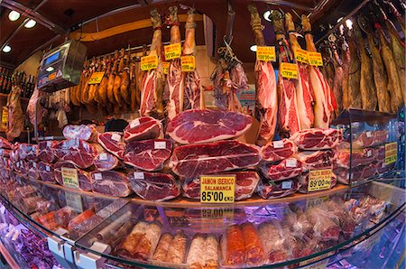 Spanish ham for sale in covered market, Las Ramblas, Barcelona, Catalunya, Spain, Europe Stock Photo - Rights-Managed, Code: 841-07082410