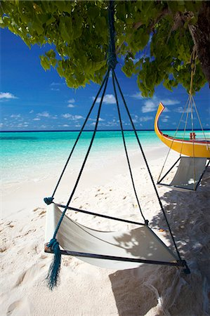Swing and traditional boat on tropical beach, Maldives, Indian Ocean, Asia Stock Photo - Rights-Managed, Code: 841-07082744