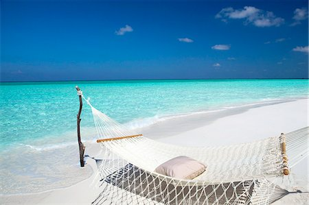 Hammock on tropical beach, Maldives, Indian Ocean, Asia Stock Photo - Rights-Managed, Code: 841-07082745