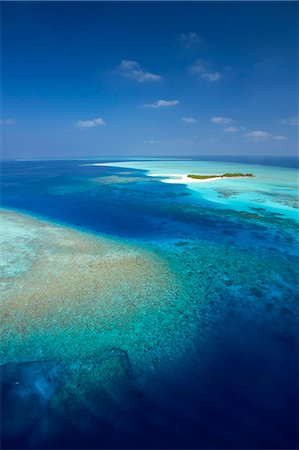 Aerial view of tropical island and lagoon, Maldives, Indian Ocean, Asia Stock Photo - Rights-Managed, Code: 841-07082742