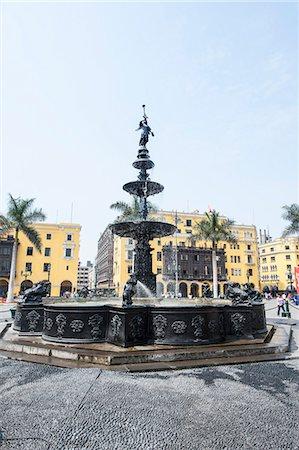 peru and culture - Municipal Palace of Lima and fountain, Plaza de Armas, Lima, Peru, South America Stock Photo - Rights-Managed, Code: 841-07082832