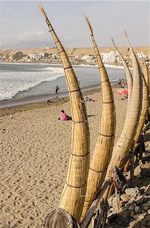 peru and culture - Caballitos de totora or reed boats on the beach in Huanchaco, Peru, South America Stock Photo - Rights-Managed, Code: 841-07082851