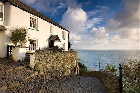 Whitewashed cottage and cobbled lane in the picturesque village of Clovelly, Devon, England, United Kingdom, Europe Stock Photo - Rights-Managed, Code: 841-07082894