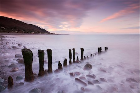 Weathered wooden groyne on Porlock Beach, Exmoor National Park, Somerset, England, United Kingdom, Europe Stock Photo - Rights-Managed, Code: 841-07082912