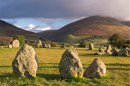 Castlerigg Stone Circle with Blencathra mountain behind, Lake District National Park, Cumbria, England, United Kingdom, Europe Stock Photo - Rights-Managed, Code: 841-07082949