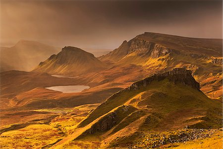 Spectacular winter light over the Trotternish Range from the Quiraing in the Isle of Skye, Inner Hebrides, Scotland, United Kingdom, Europe Stock Photo - Rights-Managed, Code: 841-07082964