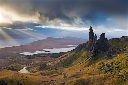 scenic - Dramatic landscape at the Old Man of Storr, Isle of Skye, Inner Hebrides, Scotland, United Kingdom, Europe Stock Photo - Rights-Managed, Code: 841-07082961