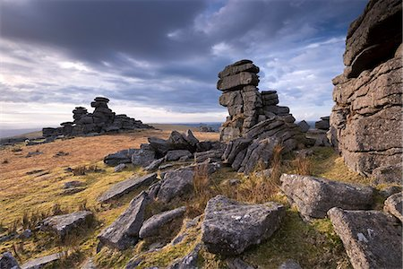 rock - Winter afternoon light at Great Staple Tor, Dartmoor National Park, Devon, England, United Kingdom, Europe Stock Photo - Rights-Managed, Code: 841-07082991