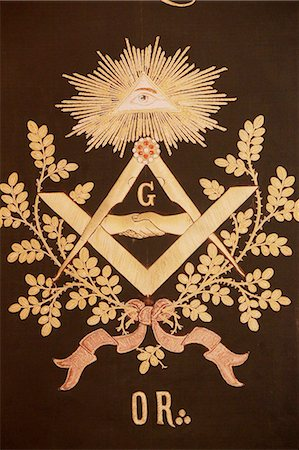 Masonic banner, Grande Loge de France, Paris, France, Europe Stock Photo - Rights-Managed, Code: 841-07083261