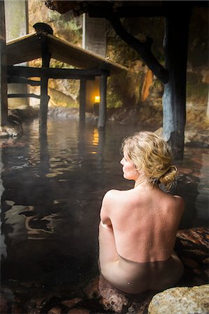 Woman enjoying the hot waters of the Kurokawa onsen, public spa, Kyushu, Japan, Asia Stock Photo - Rights-Managed, Code: 841-07083672