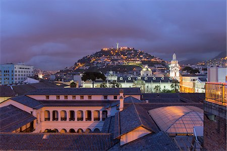 Metropolitan Cathedral and the Panecillo Hill at night, Quito, UNESCO World Heritage Site, Pichincha Province, Ecuador, South America Stock Photo - Rights-Managed, Code: 841-07204382