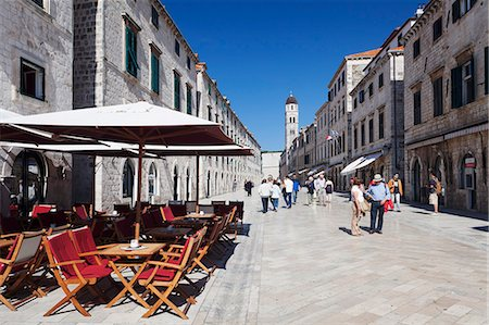 Street cafe on the main road Placa Stradun, Old Town, UNESCO World Heritage Site, Dubrovnik, Dalmatia, Croatia, Europe Stock Photo - Rights-Managed, Code: 841-07204623