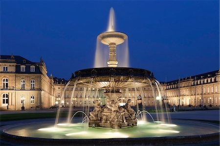 Neues Schloss castle and fountain at Schlossplatz Square, Stuttgart, Baden Wurttemberg, Germany, Europe Stock Photo - Rights-Managed, Code: 841-07204779