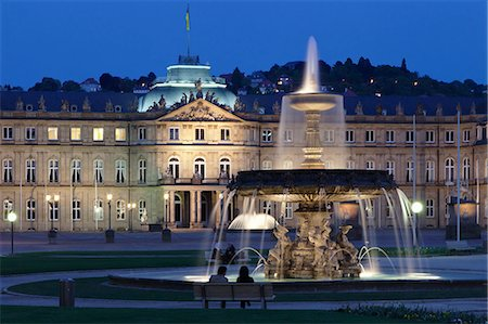 Neues Schloss castle and fountain at Schlossplatz Square, Stuttgart, Baden Wurttemberg, Germany, Europe Stock Photo - Rights-Managed, Code: 841-07204780
