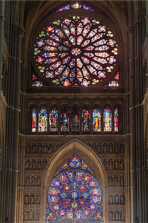 Cathedral west windows, Rheims, UNESCO World Heritage Site, Marne, France, Europe Stock Photo - Rights-Managed, Code: 841-07205121