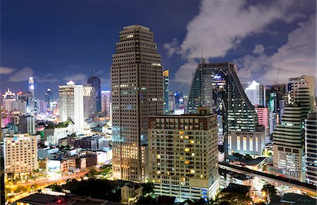 High rise buildings of Bangkok at night from Rembrandt Hotel and Towers, Sukhumvit 18, Bangkok, Thailand, Southeast Asia, Asia Stock Photo - Rights-Managed, Code: 841-07205154