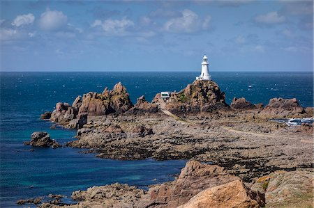 Corbiere Lighthouse and rocky coastline, Jersey, Channel Islands, United Kingdom, Europe Stock Photo - Rights-Managed, Code: 841-07205184