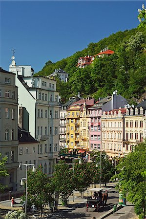Historic spa section of Karlovy Vary, Bohemia, Czech Republic, Europe Stock Photo - Rights-Managed, Code: 841-07205441