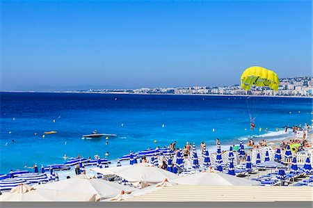 french (places and things) - Beach scene, Nice, Alpes Maritimes, Provence, Cote d'Azur, French Riviera, France, Mediterranean, Europe Stock Photo - Rights-Managed, Code: 841-07205917