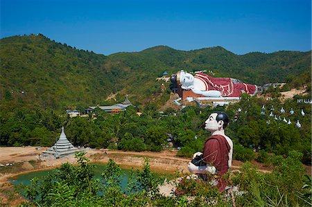 Sleeping Buddha, Win Sein Taw Ya, around Mawlamyine (Moulmein), Mon State, Myanmar (Burma), Asia Stock Photo - Rights-Managed, Code: 841-07206170