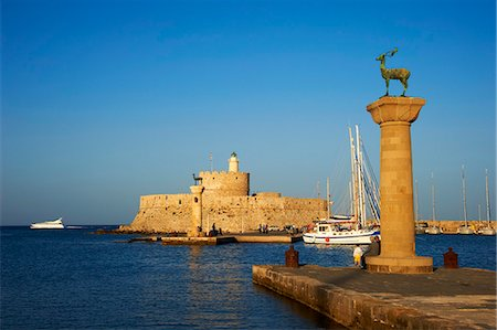 Mandraki Harbour, Rhodes City, Rhodes, Dodecanese, Greek Islands, Greece, Europe Stock Photo - Rights-Managed, Code: 841-07206300