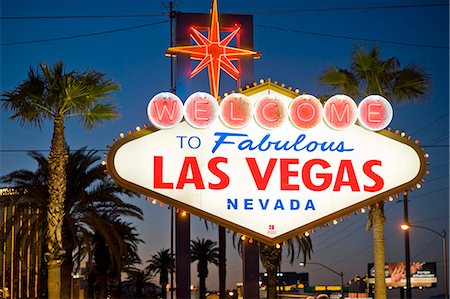Las Vegas Sign at night, Nevada, United States of America, North America Stock Photo - Rights-Managed, Code: 841-07206456