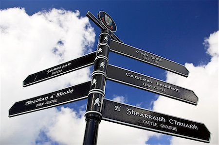 Bilingual road sign English and Scottish Gaelic directions, Stornoway, Outer Hebrides, UK Stock Photo - Rights-Managed, Code: 841-07202037