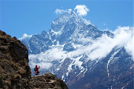 Trail between Namche Bazaar and Everest View Hotel, with Mt. Thamserku behind, Sagarmatha National Park, UNESCO World Heritage Site, Nepal, Himalayas, Asia Stock Photo - Rights-Managed, Code: 841-07202416