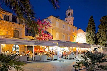 european cafe bar - Church of St. Nicholas and bars at dusk, Cavtat, Dubrovnik Riviera, Dalmatian Coast, Dalmatia, Croatia, Europe Stock Photo - Rights-Managed, Code: 841-07202459