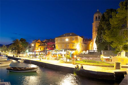 european cafe bar - Church of St. Nicholas and bars at dusk, Cavtat, Dubrovnik Riviera, Dalmatian Coast, Dalmatia, Croatia, Europe Stock Photo - Rights-Managed, Code: 841-07202460