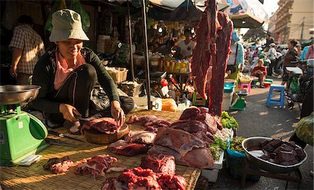Butcher at Food market, Phnom Penh, Cambodia, Indochina, Southeast Asia, Asia Stock Photo - Rights-Managed, Code: 841-07202620