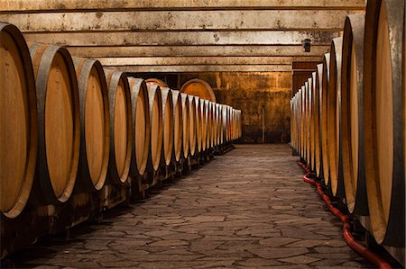 The wooden wine barrels used to age the wine at Gitton Pere et Fils in Sancerre, Cher, Centre, France, Europe Stock Photo - Rights-Managed, Code: 841-07202662