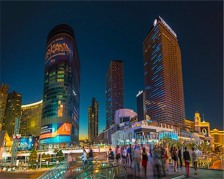 The Cosmopolitan on right and CityCenter on left, The Strip, Las Vegas, Nevada, United States of America, North America Stock Photo - Rights-Managed, Code: 841-07355233
