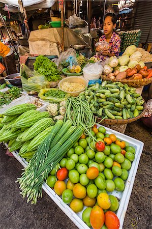 food stalls - Fresh vegetables at street market in the capital city of Phnom Penh, Cambodia, Indochina, Southeast Asia, Asia Stock Photo - Rights-Managed, Code: 841-07457081