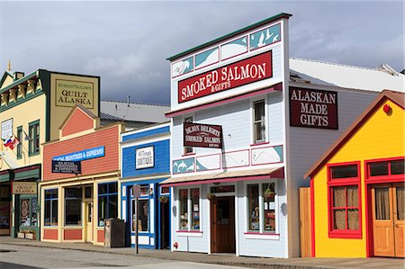 Stores on 5th Avenue, Skagway, Alaska, United States of America, North America Stock Photo - Rights-Managed, Code: 841-07457498