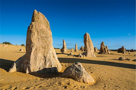 The Pinnacles limestone formations at sunset in Nambung National Park, Western Australia, Australia, Pacific Stock Photo - Rights-Managed, Code: 841-07524014