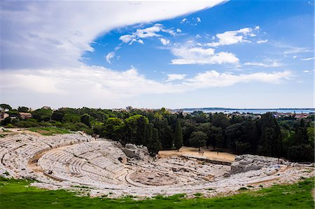 Teatro Greco (Greek Theatre), the Greek Amphitheatre at Syracuse (Siracusa), UNESCO World Heritage Site, Sicily, Italy, Europe Stock Photo - Rights-Managed, Code: 841-07523249